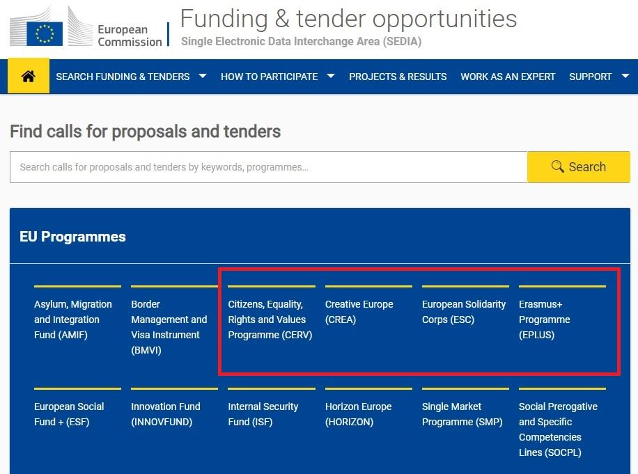 Screenshot showing EACEA's four funding programmes on the Funding & Tender Opportunities Portal homepage.
